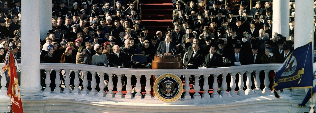 "Inaugural Address of John F. Kennedy, 35th President of the United States. Washington, DC 20 January 1961. Please credit ""U. S. Army Signal Corps photograph in the John Fitzgerald Kennedy Library, Boston""."