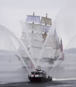 170617-N-DQ503-106 BOSTON (Jun 17, 2017) USCGC Eagle (WIX-327) leads the Parade of Sails during Sail Boston 2017 off the port bow of USS Whidbey Island (LSD 41). USS Whidbey Island (LSD 41) and more than 50 Tall Ships from around the world are participating in Sail Boston 2017, a five-day maritime festival in the Boston Harbor. The event gives Bostonians an opportunity to see firsthand the latest capabilities of today's sea services, as well as experience maritime history - both past and present. (U.S. Navy photo by Mass Communication Specialist 3rd Class Taylor Elberg/Released)