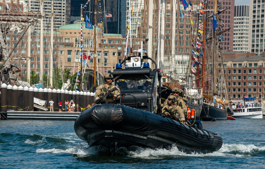 The U.S. Coast Guard Maritime Security Response Team patrols Boston Harbor, Tuesday, June 20, 2017. The team deployed from Chesapeake, Virginia, to provide waterside security for the public and tall ships during Sail Boston 2017. (U.S. Coast Guard photo by Petty Officer 3rd Class Andrew Barresi)