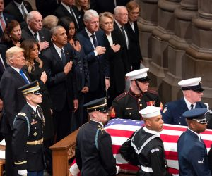 President George H. W. Bush 41 arrives to the funeral service at the Washington National Cathedral