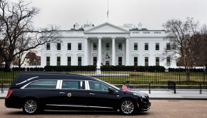 The funeral procession of former President George H.W. Bush passes in front of the White House