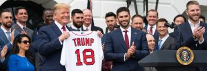 President Trump models an MLB brand TRUMP 18 T-Shirt with the Boston Red Sox